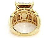 Brown And White Cubic Zirconia 18k Yellow Gold Over Silver Ring 4.30ctw (2.52ctw DEW)