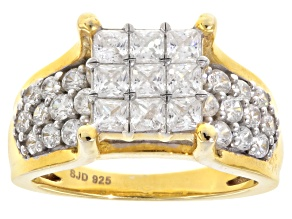 White Cubic Zirconia 18k Yellow Gold Over Silver Ring 4.45ctw
