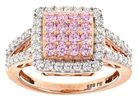 Pink And White Cubic Zirconia 18k Rose Gold Over Silver Ring 2.20ctw (1.14ctw DEW)