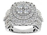 Cubic Zirconia Rhodium Over Sterling Silver Ring 3.80ctw (1.53ctw DEW)