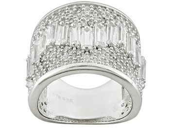 Picture of Cubic Zirconia Rhodium Over Sterling Silver Ring 7.35ctw (5.99ctw DEW)