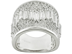 Cubic Zirconia Rhodium Over Sterling Silver Ring 7.35ctw (5.99ctw DEW)