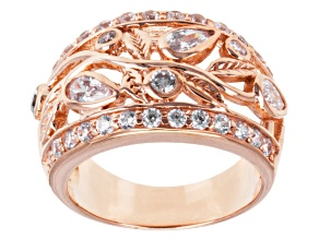 Cubic Zirconia 18k Rose Gold Over Silver Ring 2.24ctw (1.58ctw DEW)