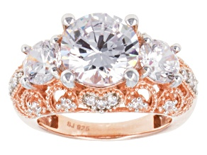 Cubic Zirconia 18k Rose Gold Over Silver Ring 10.60ctw (5.81ctw DEW)