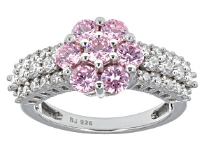 Pink And White Cubic Zirconia Sterling Silver Ring 3.38ctw