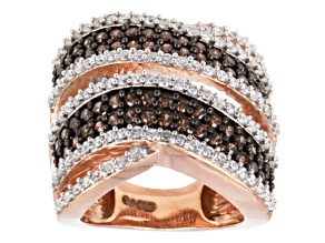 Brown And White Cubic Zirconia 18k Rose Gold Over Silver Ring 3.75ctw (2.16ctw DEW)