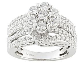 Cubic Zirconia Silver Ring 3.26ctw (1.52ctw DEW)