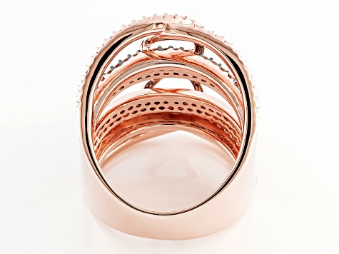 Brown And White Cubic Zirconia 18k Rose Gold Over Silver Ring 3.18ctw (1.56ctw DEW)