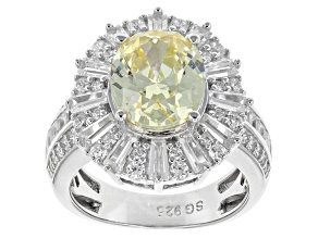 Yellow And White Cubic Zirconia Silver Ring 8.45ctw (5.77ctw DEW)