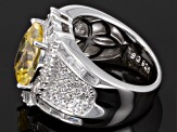 Yellow And White Cubic Zirconia Silver Ring 11.80ctw (7.42ctw DEW)