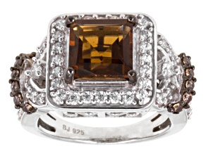 Brown And White Cubic Zirconia Silver Ring 3.73ctw
