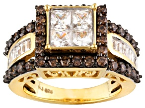 White And Brown Cubic Zirconia 18k Yellow Gold Over Silver Ring 4.54ctw (2.81ctw DEW)