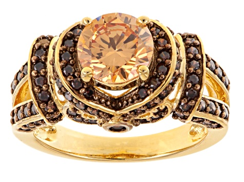 Brown Cubic Zirconia 18k Yellow Gold Over Silver Ring 4.11ctw