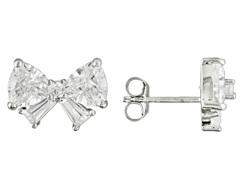 Picture of White Cubic Zirconia Rhodium Over Sterling Silver Earrings 6.00ctw