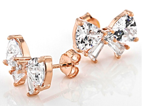 White Cubic Zirconia 18K Rose Gold Over Sterling Silver Earrings 6.00ctw