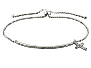 Cubic zirconia rhodium over silver adjustable cross bracelet .63ctw (.42ctw DEW)