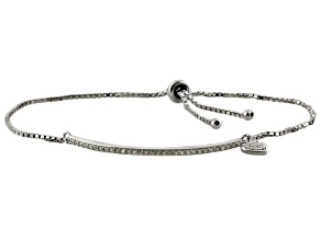Cubic zirconia silver adjustable heart bracelet .60ctw (.40ctw DEW)