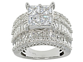 Cubic Zirconia Rhodium Over Sterling Silver Ring 9.71ctw (6.19ctw DEW)