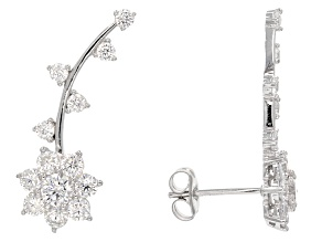 White Cubic Zirconia Sterling Silver Climber Earrings 2.71ctw