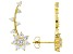 White Cubic Zirconia 18k yellow gold over silver Climber Earrings 2.71ctw