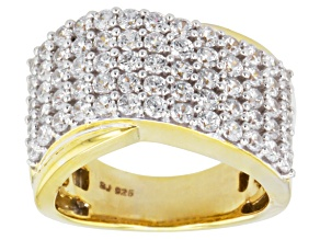 Cubic Zirconia 18k Yellow Gold Over Silver Ring 4.05ctw (1.95ctw DEW)