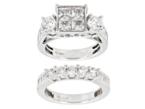 Cubic Zirconia Silver Ring With Band 6.31ctw (3.74ctw DEW)
