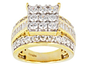 Cubic Zirconia 18k Yellow Gold Over Silver Ring 4.79ctw (2.94ctw DEW)