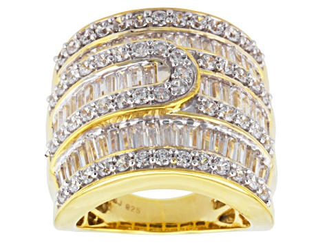 Cubic Zirconia 18k Yellow Gold Over Silver Ring 6.32ctw (4.61ctw DEW)