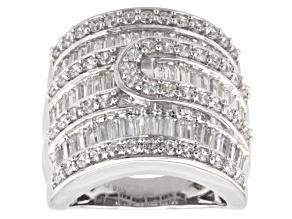 Cubic Zirconia Silver Ring 6.32ctw (4.61ctw DEW)