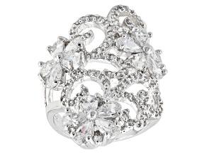 Cubic Zirconia Silver Ring 6.33ctw (4.25ctw DEW)