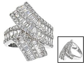 Cubic Zirconia Silver Ring 4.86ctw (2.34ctw DEW)