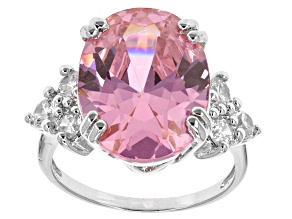 Pink And White Cubic Zirconia Silver Ring 16.13ctw (9.98ctw DEW)