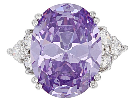 Purple And White Cubic Zirconia Rhodium Over Sterling Silver Ring 16.13ctw (9.98ctw DEW)
