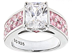 White And Pink Cubic Zirconia Silver Ring 6.56ctw (4.74ctw DEW)