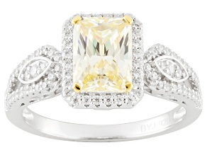 Yellow And White Cubic Zirconia Rhodium Over Silver Ring 3.67ctw (2.31ctw DEW)