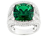 Green And White Cubic Zirconia Silver Ring 10.00ctw