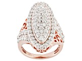 Cubic Zirconia 18k Rose Gold Over Silver Ring 4.81ctw (2.28ctw DEW)