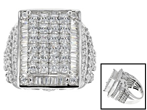 Cubic Zirconia Rhodium Over Sterling Silver Ring 8.75ctw (5.57ctw DEW)
