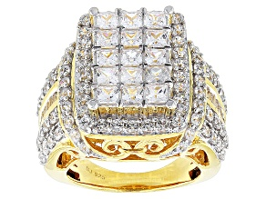 Cubic Zirconia 18k Yellow Gold Over Silver Ring 7.84ctw (4.77ctw DEW)