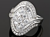 Cubic Zirconia Rhodium Over Sterling Silver Ring 4.90ctw (3.37ctw DEW)
