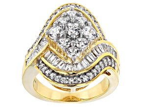 Cubic Zirconia 18k Yellow Gold Over Sterling Silver Ring 4.90ctw (3.37ctw DEW)