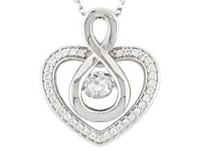 Cubic Zirconia Rhodium Over Sterling Silver Heart