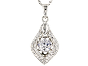 White Cubic Zirconia Rhodium Over Silver Pendant With Chain 1.87ctw