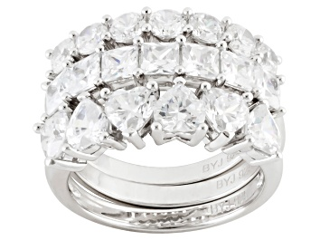 Picture of Cubic Zirconia Rhodium Over Sterling Silver Ring Set Of 3, 5.08ctw (3.53ctw DEW)
