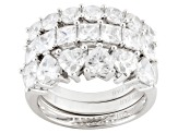 Cubic Zirconia Rhodium Over Sterling Silver Ring Set Of 3, 5.08ctw (3.53ctw DEW)