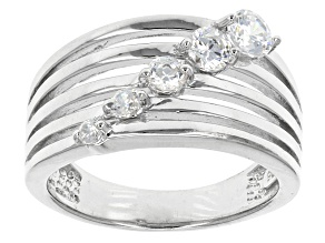 Cubic Zirconia Rhodium Over Sterling Silver Ring 1.05ctw (.62ctw DEW)