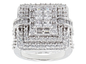 Cubic Zirconia Silver Ring 6.40ctw (3.82ctw DEW)