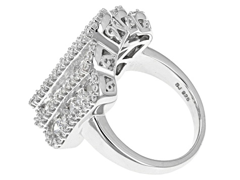 Cubic Zirconia Rhodium Over Sterling Silver Ring 5.70ctw (2.24ctw DEW)