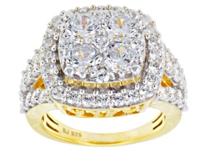 Cubic Zirconia 18k Yellow Gold Over Silver Ring 6.89ctw (3.43ctw DEW)