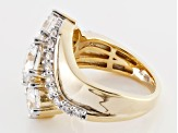 Cubic Zirconia 18k Yellow Gold Over Silver Ring 7.75ctw (4.32ctw DEW)
